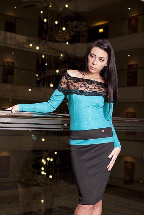 Платье Сандра бирюзовый