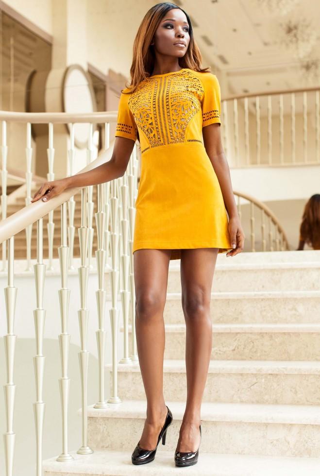 Платье Луиза горчица
