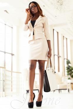 Suit Yasmin V1 (Jacket + Skirt) beige