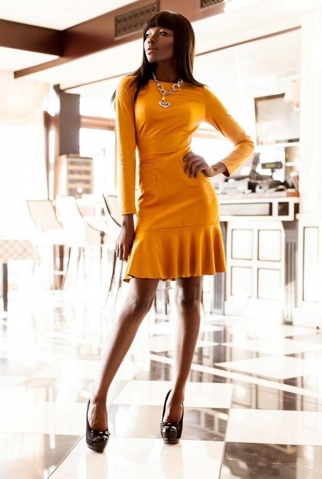 Платье Харси горчица