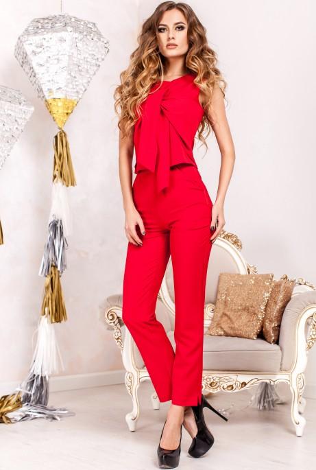 Костюм Моренго с брюками  красный