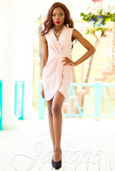 """Платье на запах """"Одри"""" персиковый"""