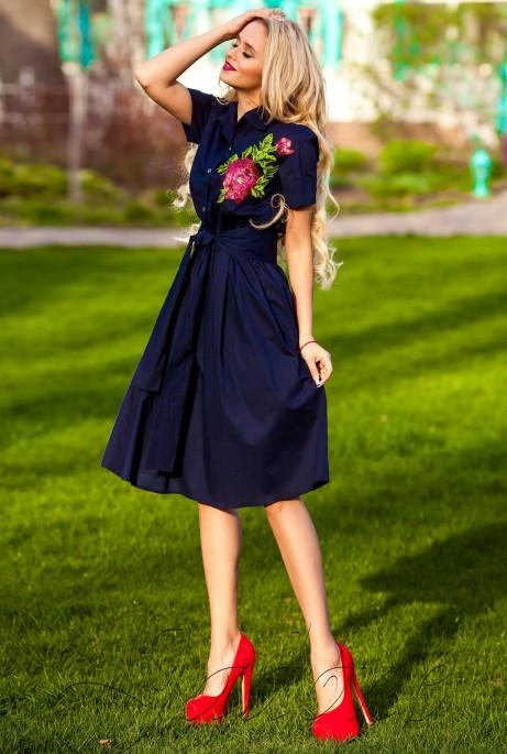 Платье Флори тёмно-синий