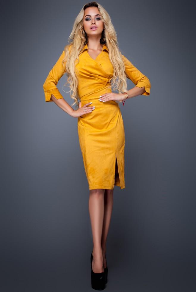 Платье Крейзи горчица Жадон