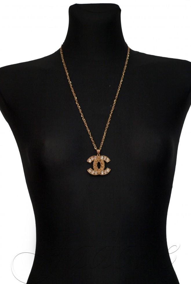 Подвеска Chanel камни золотой металлик