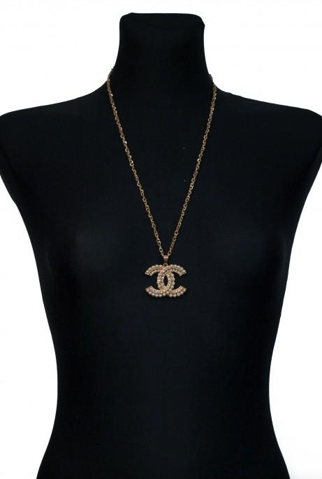 Подвеска Chanel жемчуг золотой металлик