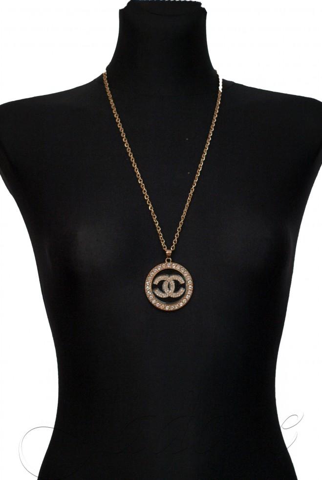 Подвеска Chanel круглая золотой металлик