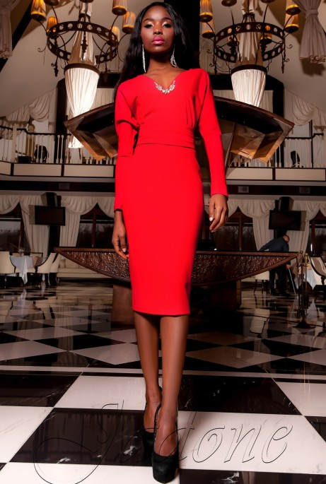 Платье Хансити красный