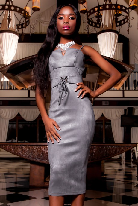 Платье Бюстье серый