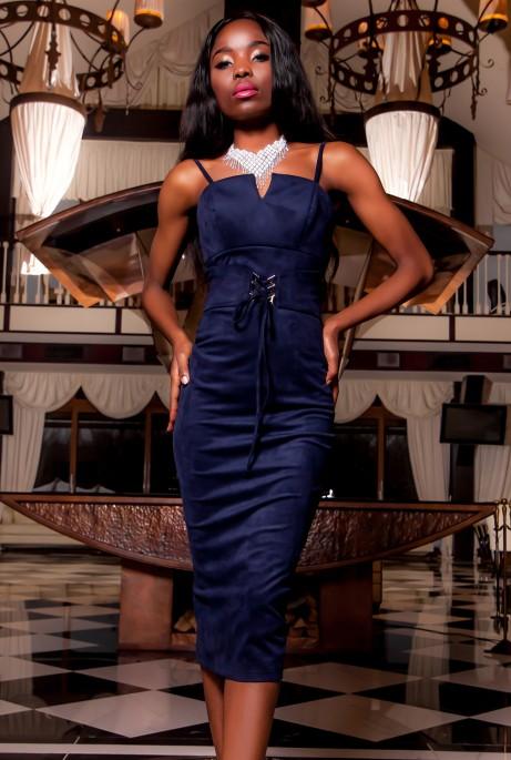 Платье Бюстье тёмно-синий