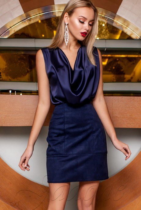Блуза Колинс тёмно-синий