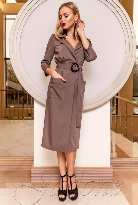 Платье на запах Кейси коричневый