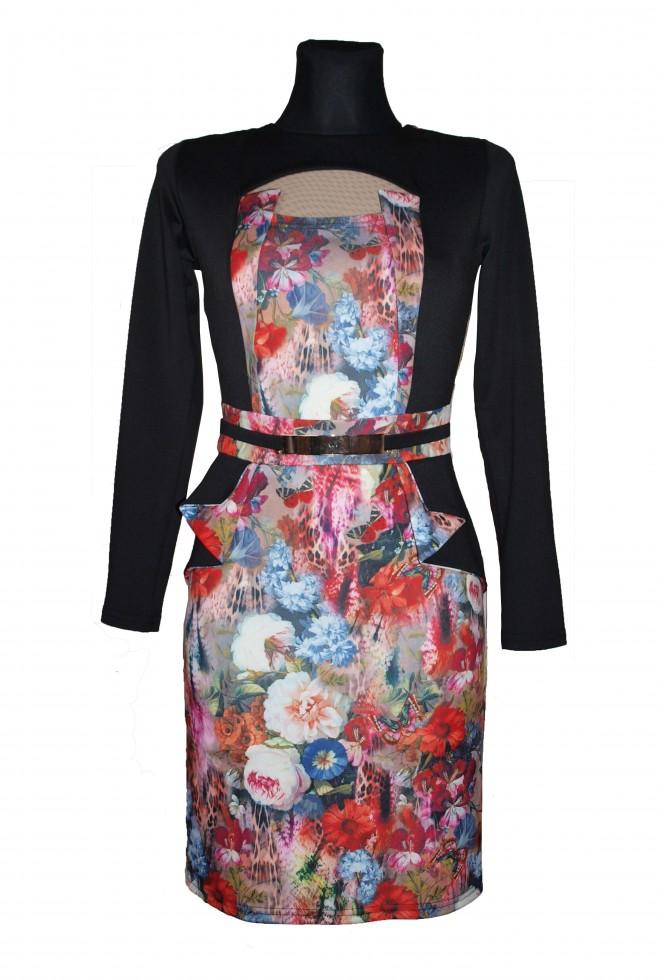 Платье Делис черное малиновый