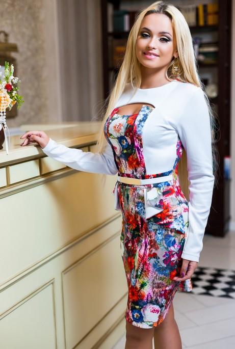 Платье Делис_белое+ малиновый