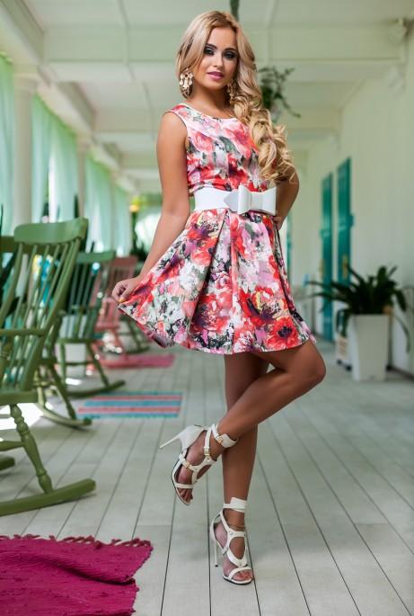 Платье Акварель коралловый