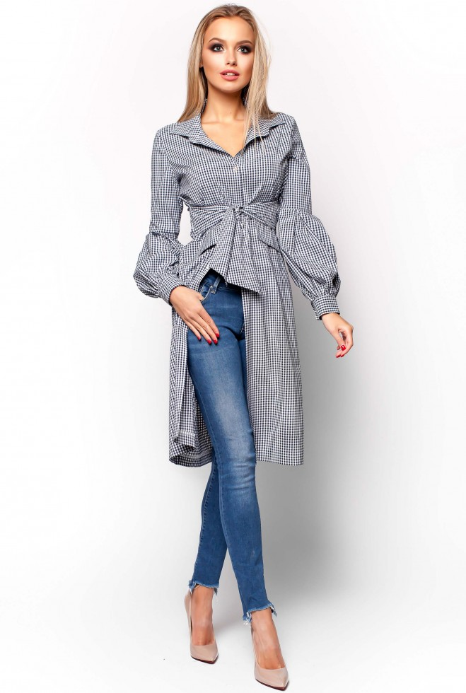 Платье-рубашка Нари тёмно-синий
