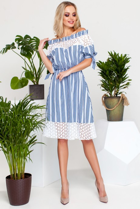 Платье Хизана Синий с белым кружевом