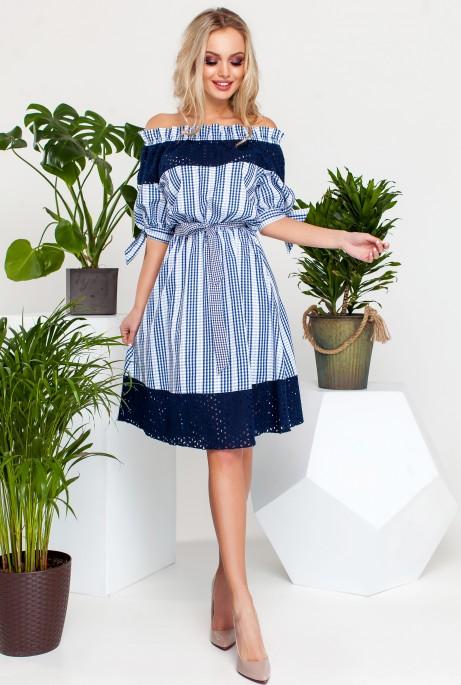 Платье Хизана Синий с синим кружевом