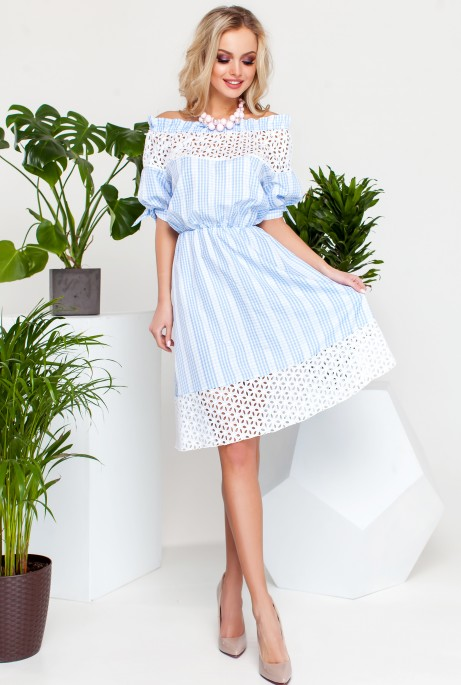 Платье Хизана Голубой с белым кружевом