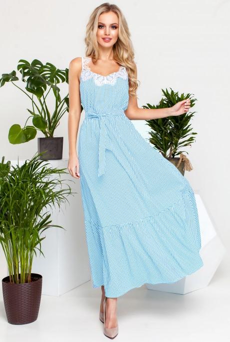 Платье Мелини Голубой с белым кружевом