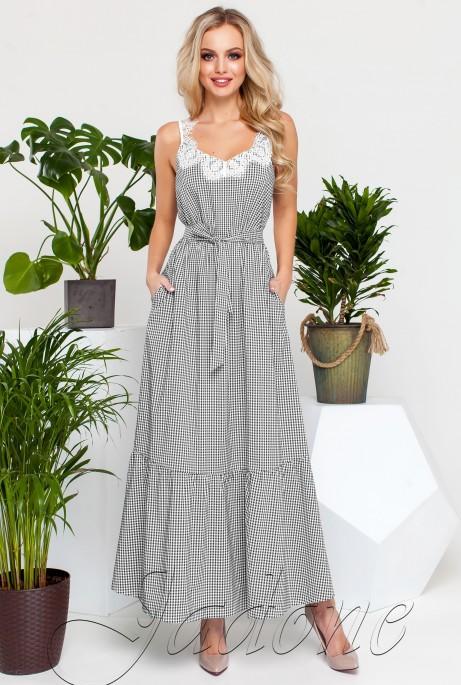Платье Мелини Черный с белым кружевом