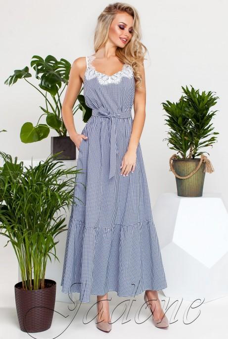 Платье Мелини Синий с белым кружевом