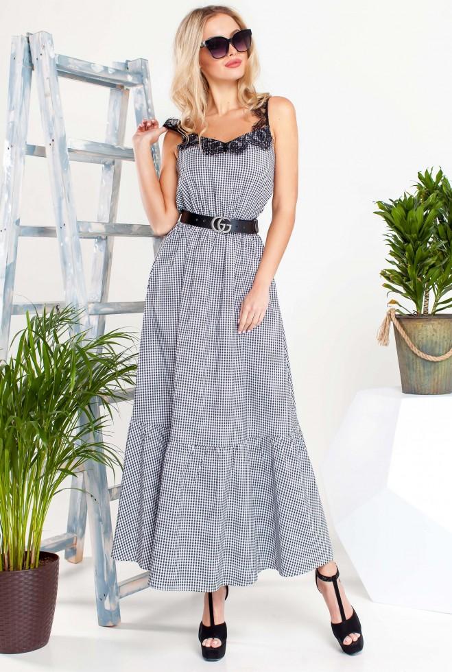 Платье Мелини Черный с черным кружевом