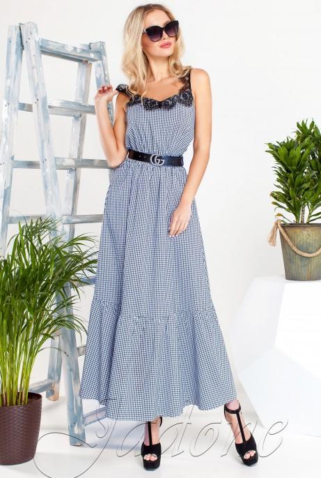 Платье Мелини Синий с синим кружевом