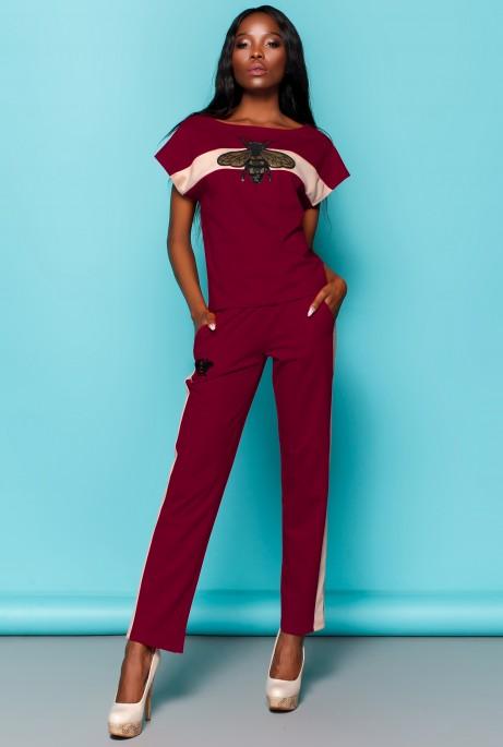 Костюм Пурино с брюками бордовый