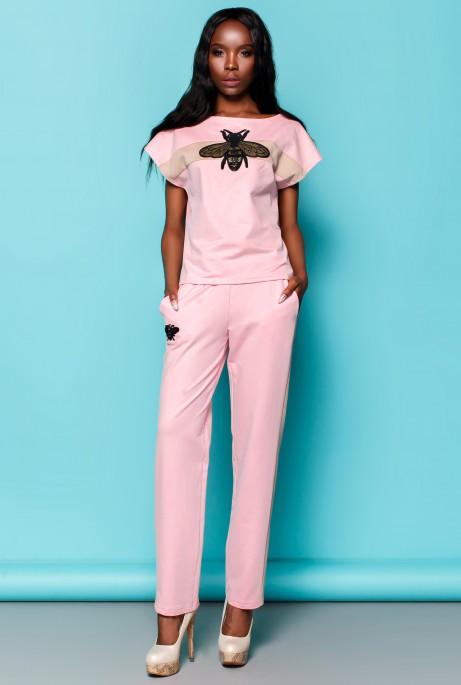 Костюм Пурино с брюками розовый