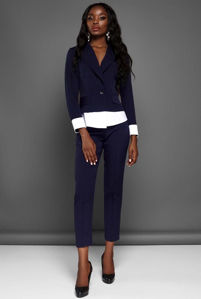 Костюм Мирей с брюками тёмно-синий