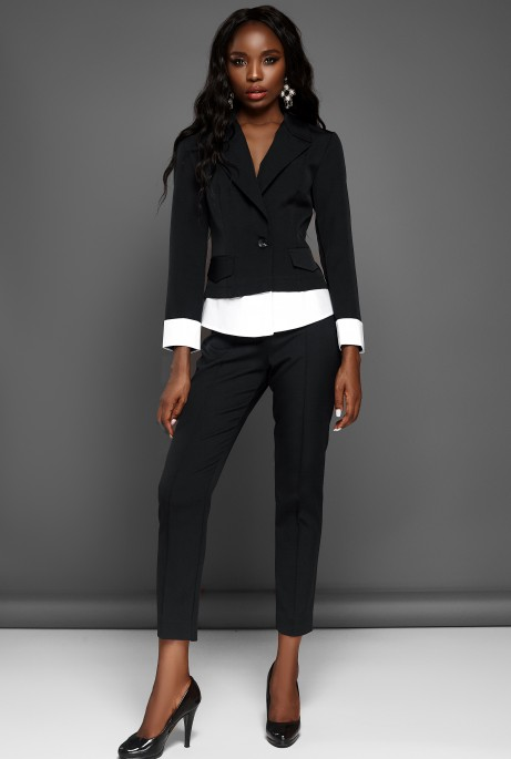 Костюм Мирей с брюками черный