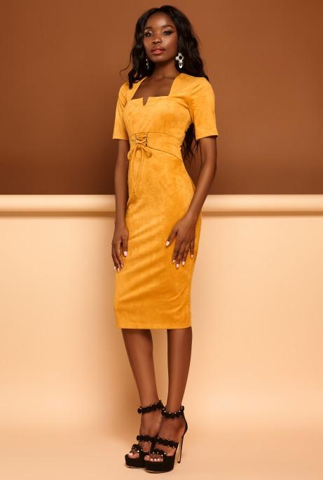 Платье Виолетта горчица