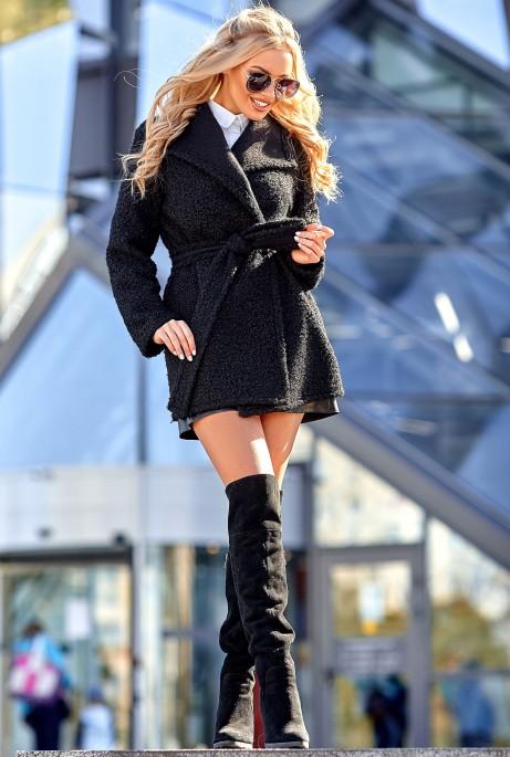 Облегченное меховое пальто Визави черный