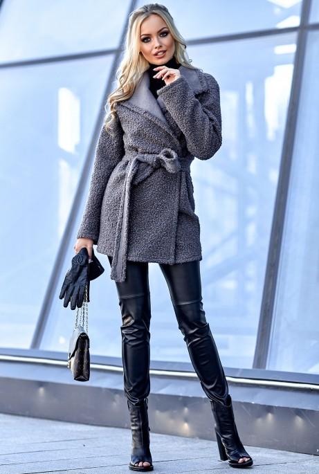 Облегченное меховое пальто Визави серо-лиловый