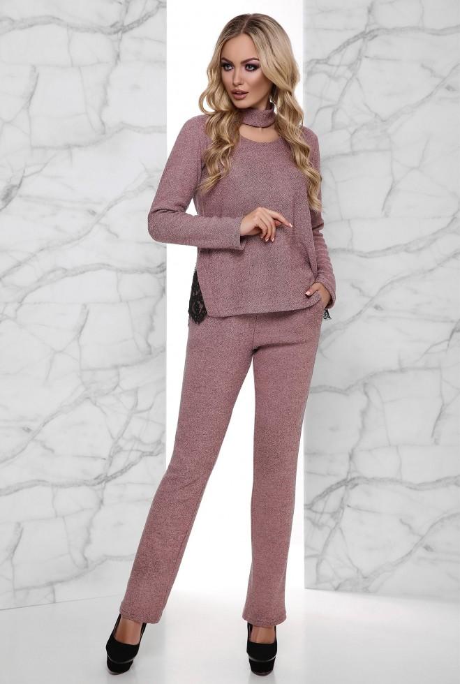 Теплый костюм Джули с начесом розовый