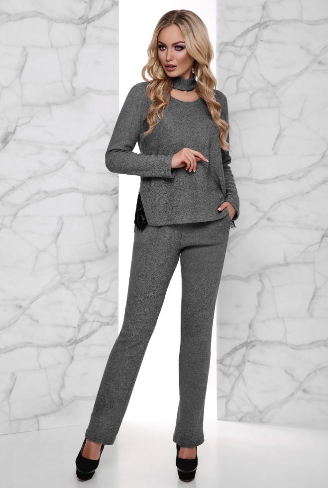 Теплый костюм Джули с начесом серый