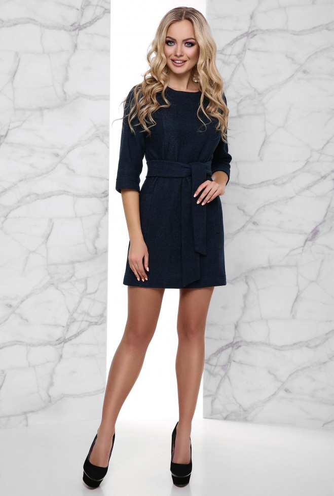Теплое Платье Амина тёмно-синий