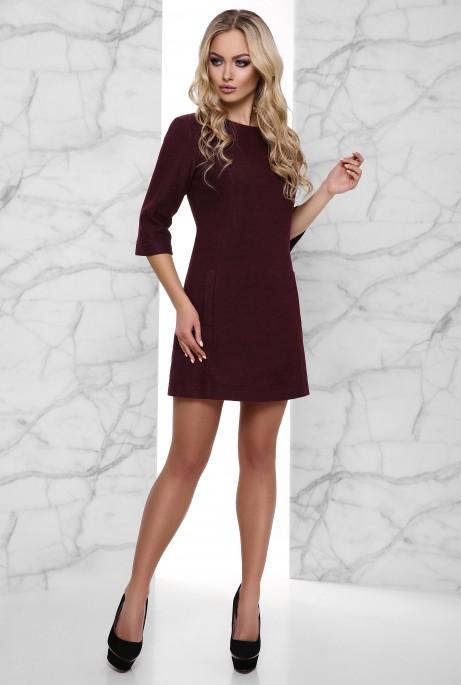 Теплое Платье Амина бордовый