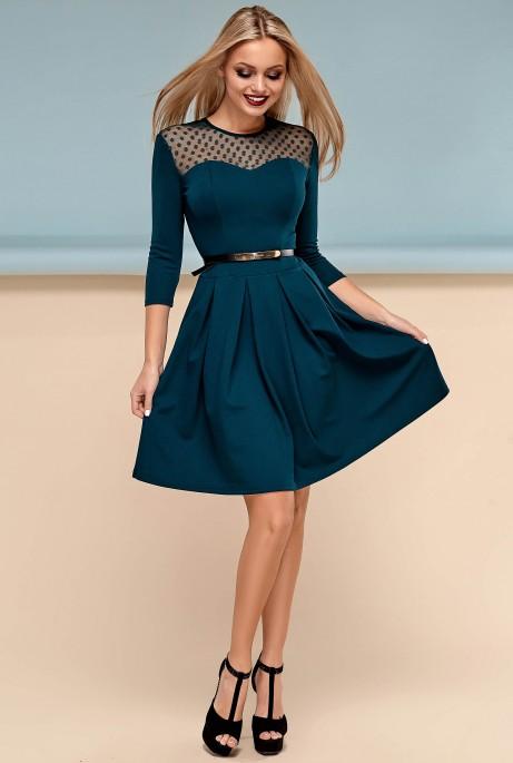 Платье Долорес без пояса Изумруд