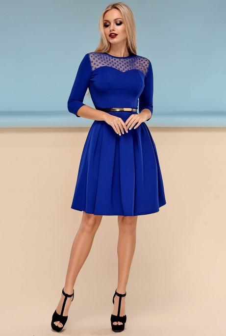 Платье Долорес без пояса электрик