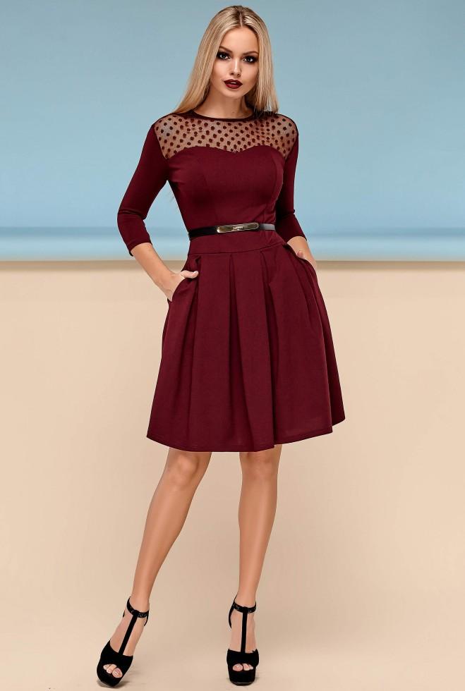 Платье Долорес без пояса марсала