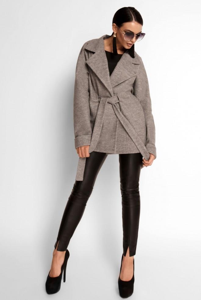 Укороченное облегченное пальто Скарлет серый Жадон