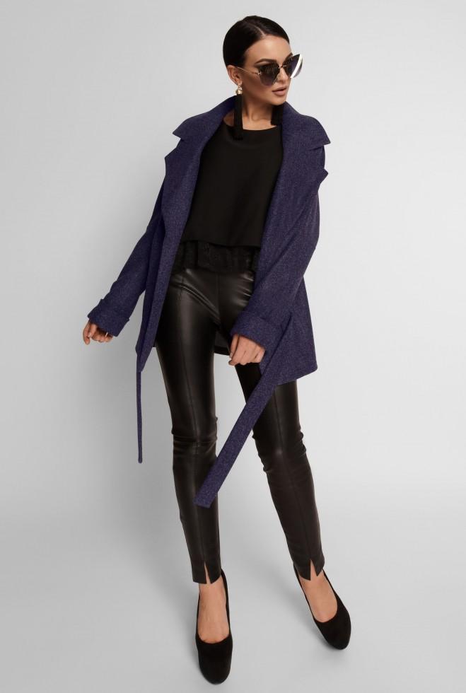 Укороченное облегченное пальто Скарлет тёмно-синий Жадон