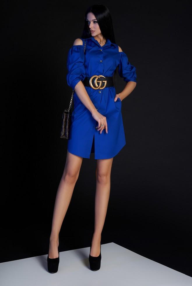 Платье-туника Кира без ремня электрик