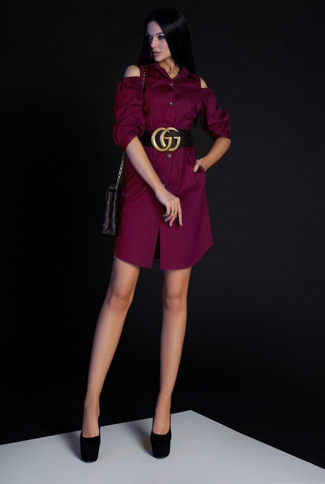 Платье-туника Кира без ремня марсала