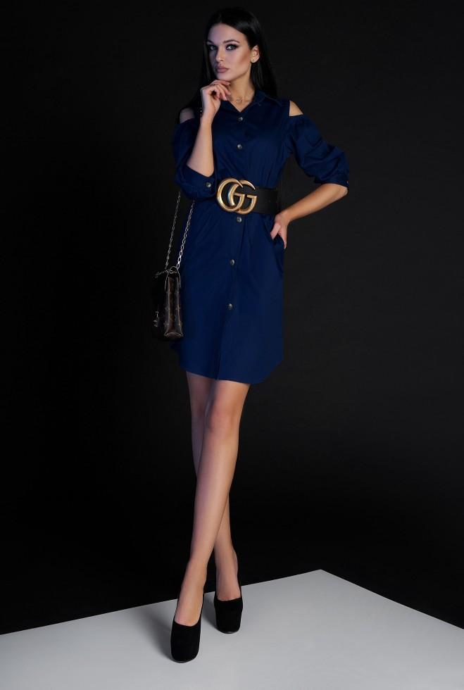 Платье-туника Кира без ремня тёмно-синий Жадон