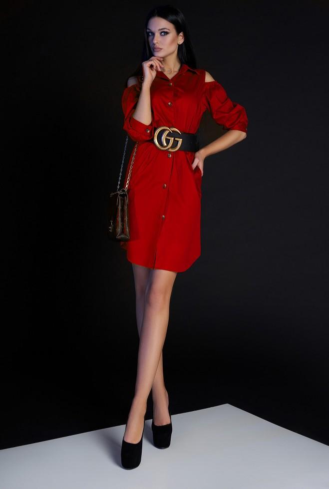 Платье-туника Кира без ремня красный
