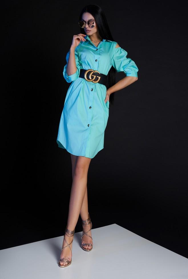 Платье-туника Кира без ремня бирюзовый