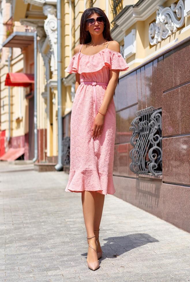 Платье Клео без ремня персиковый